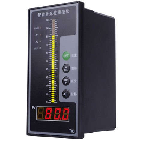 T80 Pantalla de columna de luz inteligente Controlador de detector de profundidad de agua de aceite liquido integral, con pantalla LCD