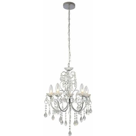 Tabitha pendant light, chrome and crystal, 5 bulbs