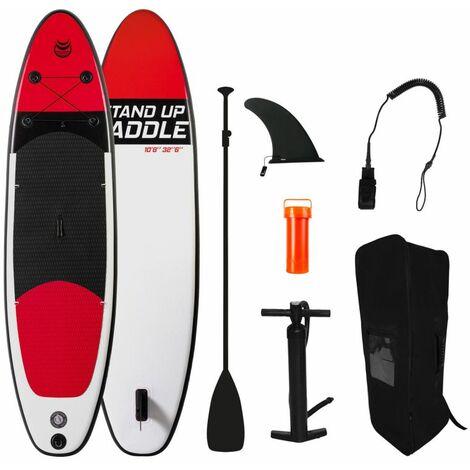 "main image of ""Tabla de paddle hinchable RED 10'8' (325x81x15cm) Con inflador, remo, leash, mochila de transporte - Rojo"""