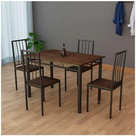Table 110 cm BILBON avec 4 chaises en métal