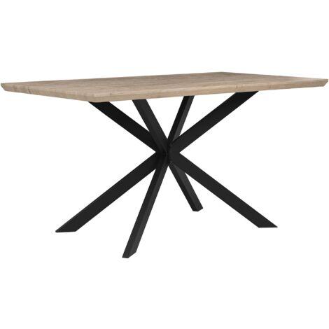 Table 140 x 80 cm bois clair et noir SPECTRA