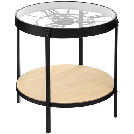 Table à café pendule mécanique en fer et verre trempé - L.50,5 x l.50,5 x H.49 cm -PEGANE-
