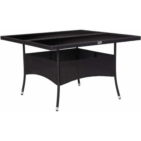 """main image of """"Table à dîner d'extérieur Noir Résine tressée et verre"""""""