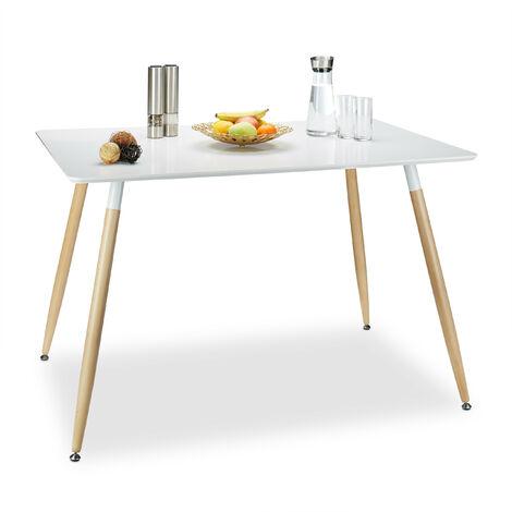 Table à manger ARVID rectangle table de salon table appoint en bois HxlxP: 75 x 120 x 80 cm design scandinave nordique, blanc