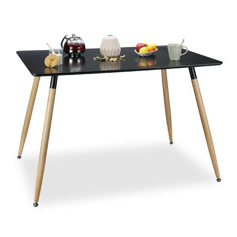 Table à manger ARVID rectangle table de salon table appoint en bois HxlxP: 75 x 120 x 80 cm design scandinave nordique, noir