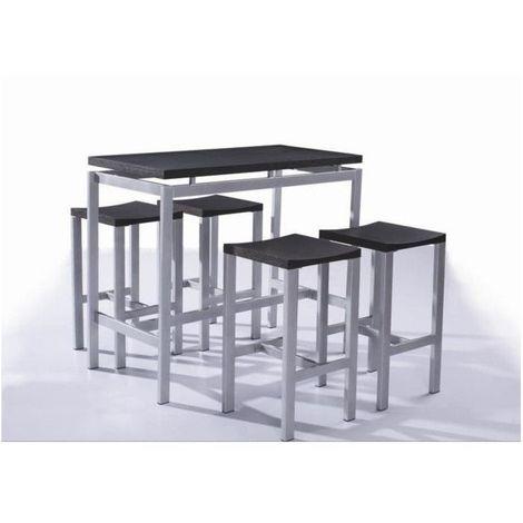 Table a manger avec chaises 1 table haute et 4 tabourets Table haute avec tabouret pour cuisine