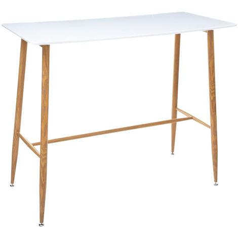 Table à manger / Bar en acier et bois coloris blanc - L.120 x l.60 x H.105 cm -PEGANE-