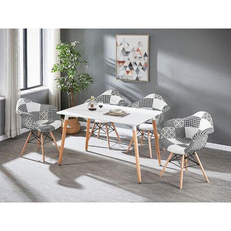 Table à Manger Blanche + 4 Chaises à Accoudoirs en Tissu Patchwork - Noir & Blanc - Style Scandinave