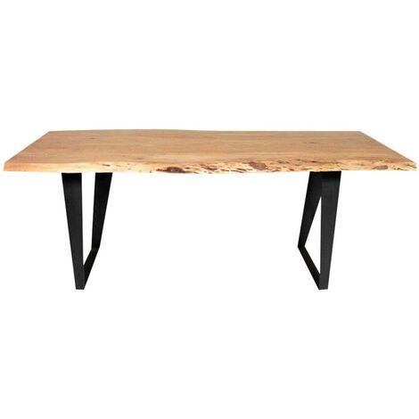 Table à manger bois massif tronc d'arbre, pieds métal - Acacia foncé