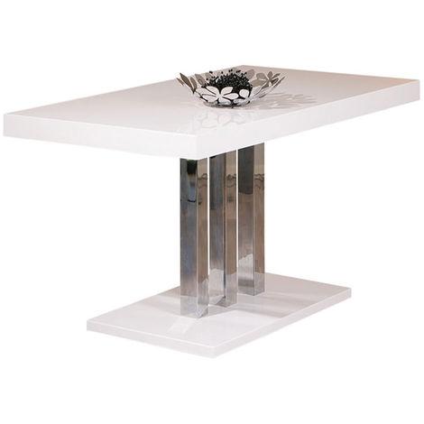 Table à manger coloris Blanc laqué - Dim : L 160 x H 75 x P 90 cm -PEGANE-