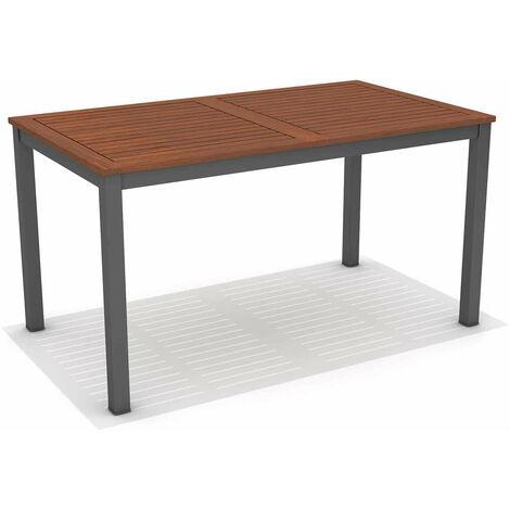 Table à Manger de Jardin Chillvert Nápoles Bois Aluminium 140x79,7x74,4 cm Marron