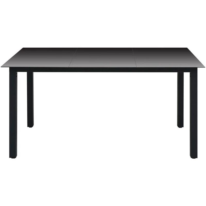 Table à manger de jardin Verre Aluminium Noir 150 x 90 x 74 cm