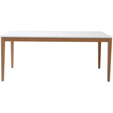 Table à manger design extensible blanche pieds bois L180-260 cm DELAH
