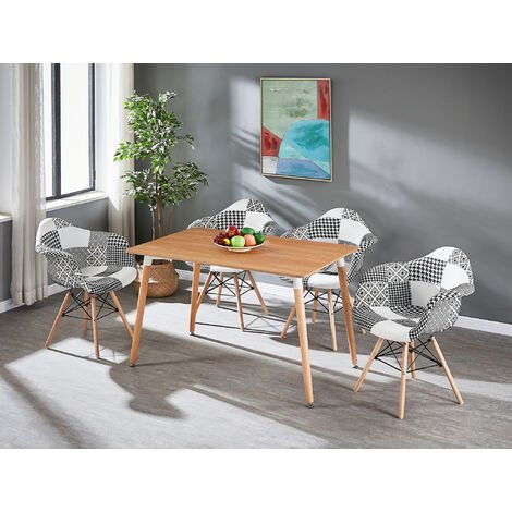 Table à Manger Effet Chêne + 4 Chaises à Accoudoirs en Tissu Patchwork - Noir & Blanc - Style Scandinave