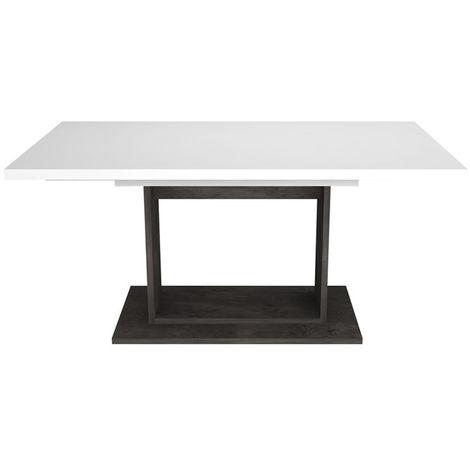 Table à manger en blanc brillant/gris béton foncé - Dim : L.160/195/230 x  H.76 x P.90 cm -PEGANE-