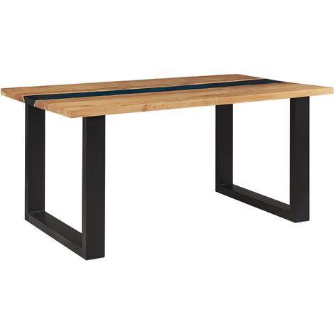 Table à manger en bois avec résine époxy bleue et pieds noirs 160 x 90 cm RIVIERE