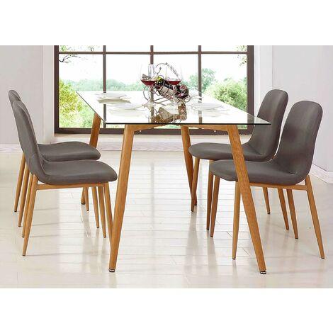 Table à manger en verre + 4 chaises scandinave LOA