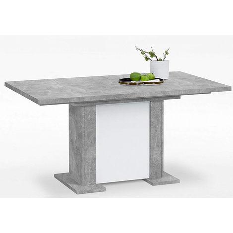 Table à manger extensible en gris béton LA/blanc - Dim : L160 x H76 x P90  cm -PEGANE-