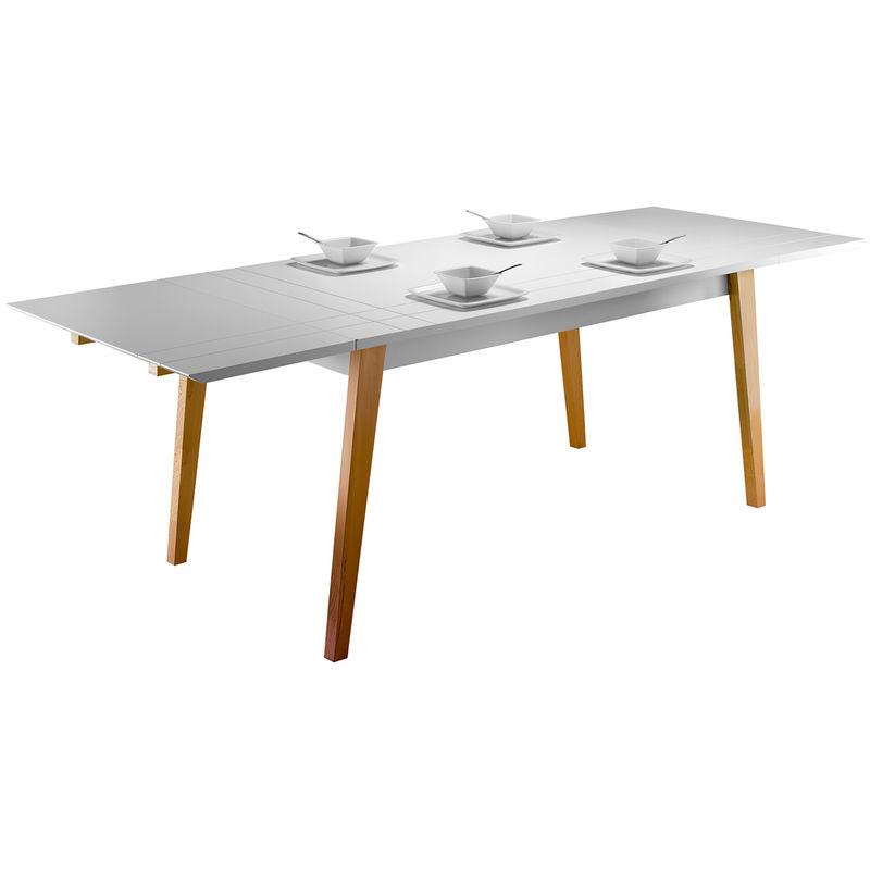 Table A Manger Extensible Laquee Blanc Mat Et Bois L160 250 Cm