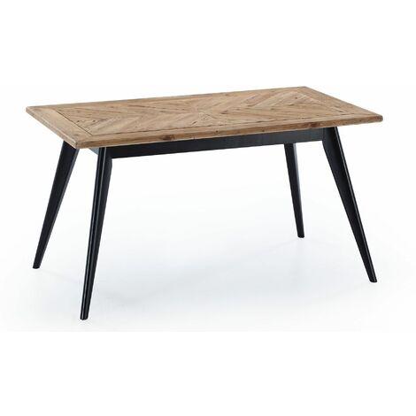 Table à manger fixe, salon, modèle PIXIE, plateau en bois de pin recyclé, mesure 140x80x76cm de haut.