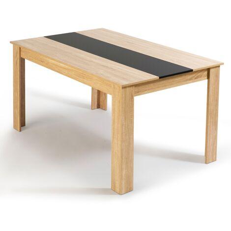 Table à manger Georgia 6 personnes imitation hêtre et noire 140 CM