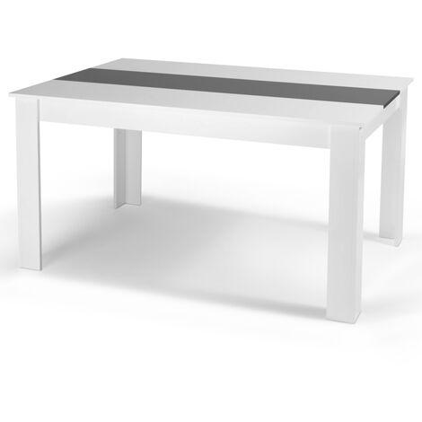 Table à manger Georgia 8 personnes blanche et grise 160 cm