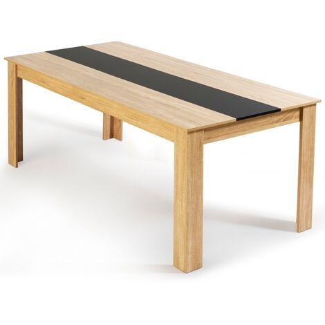 Table à manger Georgia 8 personnes hêtre et noire 160 cm