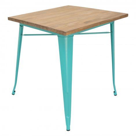 Table à manger haute Tolix avec plateau en bois et pieds Turquois