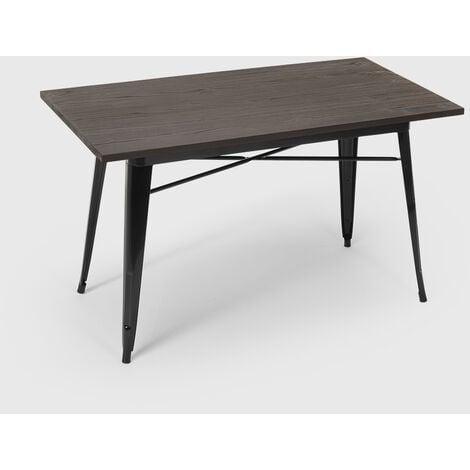 Table à manger industrielle 120x60 design tolix métal bois rectangulaire CAUPONA