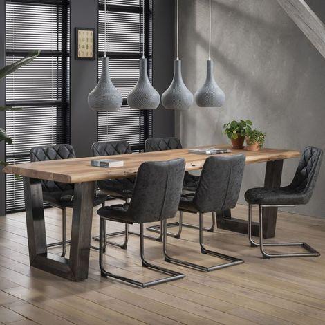 Table à manger industrielle en acacia massif Dorothea - Marron