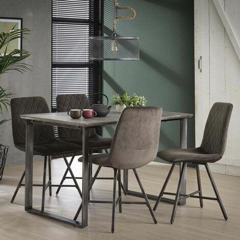 Table à manger industrielle en bois Diego - Anthracite