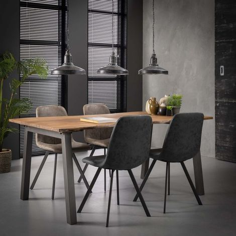 Table à manger industrielle en bois massif Pierre Longueur 180 cm - Marron