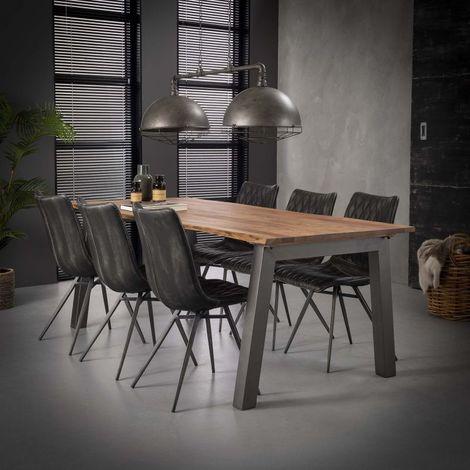 Table à manger industrielle en bois massif Pierre Longueur 210 cm - Marron