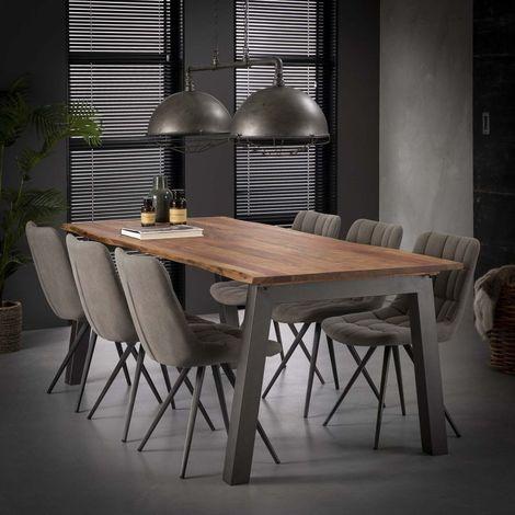 Table à manger industrielle en bois massif Pierre Longueur 240 cm - Marron