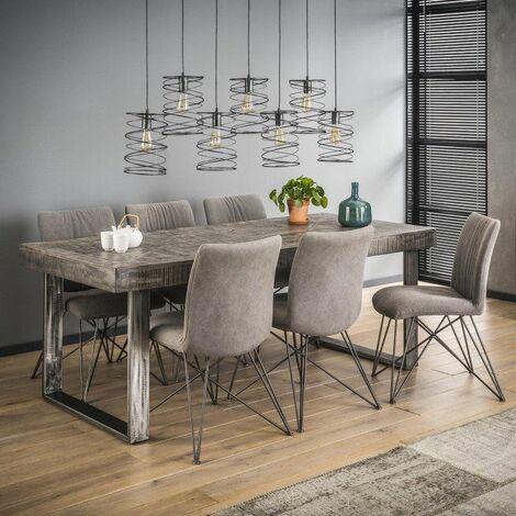 Table à manger industrielle rectangulaire en bois massif Laïa - Gris