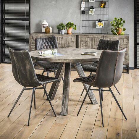 Table à manger industrielle ronde en bois massif Laïa - Gris