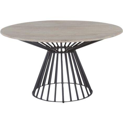 Table à manger industrielle ronde - pied central design - Manguier