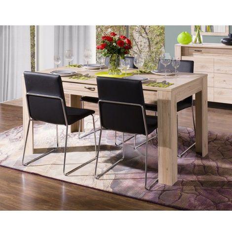 Table à manger MASSIMO petit modèle (160 cm) avec tiroir intégré - Produit élégant et raffiné, idéal pour votre salle à manger. - Marron