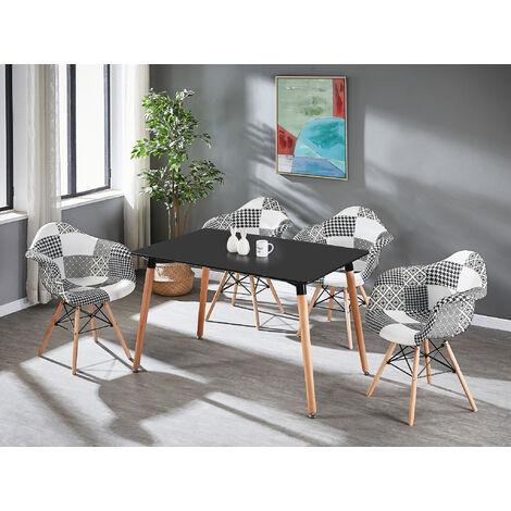 Table à Manger Noire + 4 Chaises à Accoudoirs en Tissu Patchwork - Noir & Blanc - Style Scandinave