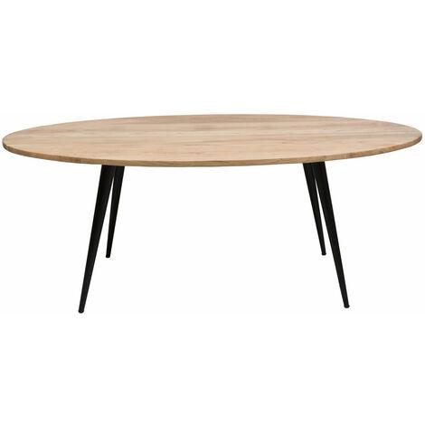 Table à manger ovale pieds compas métal