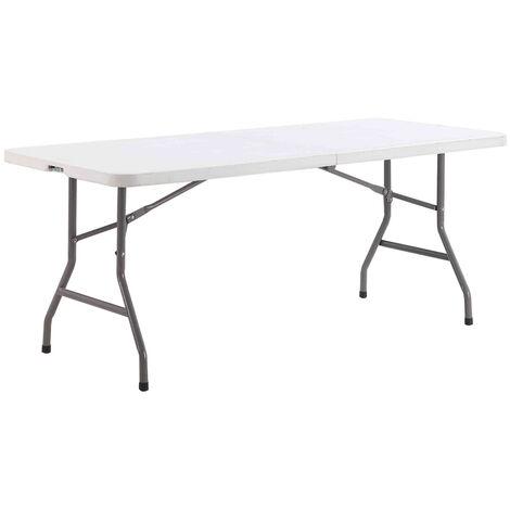 Table à manger pliante outdoor Villars Blanc 183 x 76 x 74 cm - Blanc
