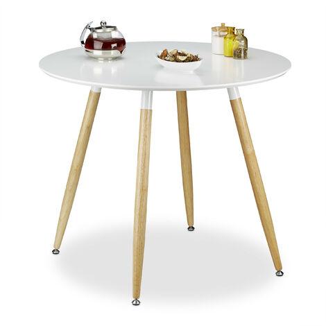 Table à manger ronde en bois ARVID HxD: 74 x 90 cm table d'appoint table de salon pieds nature, blanc