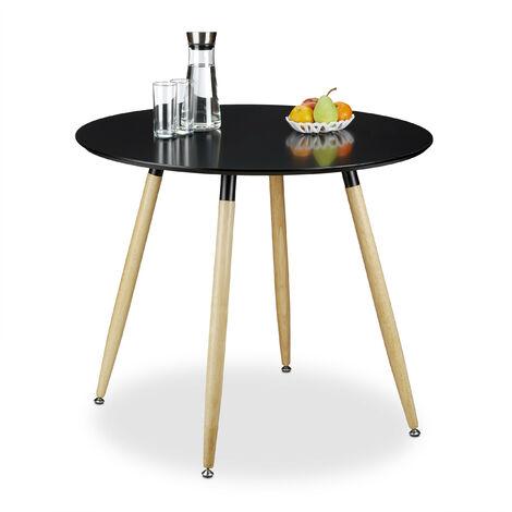 Table à manger ronde en bois ARVID HxD: 74 x 90 cm table d'appoint table de salon pieds nature, noir