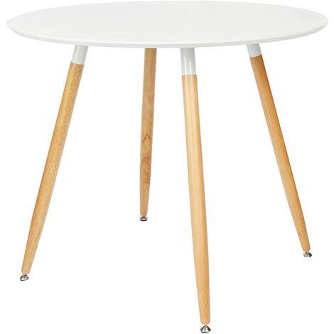 Table à manger ronde en bois diamètre 90 cm blanc - Blanc