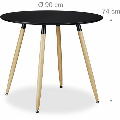 Table à manger ronde en bois noir style scandinave 90 cm de diamètre - Bois