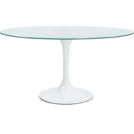 Table à manger ronde en Verre trempé blanc - 140 x 140 x 73 ...