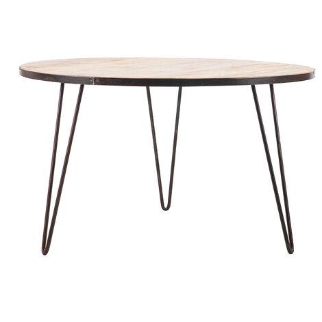 Table à manger ronde industrielle manguier massif et métal D125 cm ATELIER