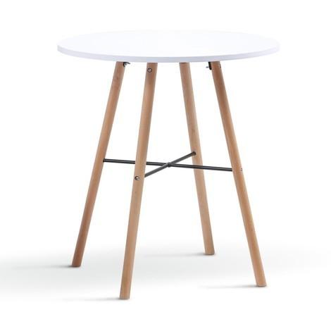 Table à manger ronde scandinave Sara blanche