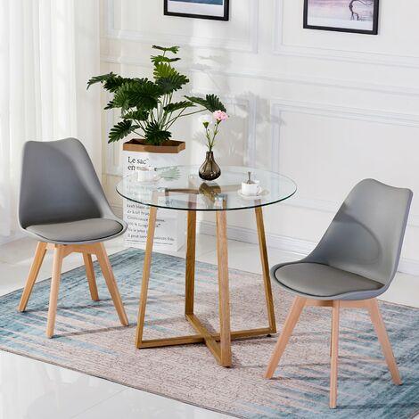 Table à manger ronde transparente Scandinave Φ80*75cm et 4 chaises blanches 46x 43 x 83 cm