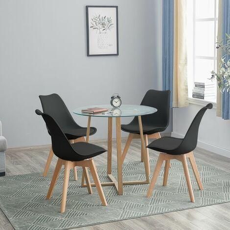 Table à manger ronde transparente Scandinave Φ80*75cm et 4 chaises noir 46x 43 x 83 cm